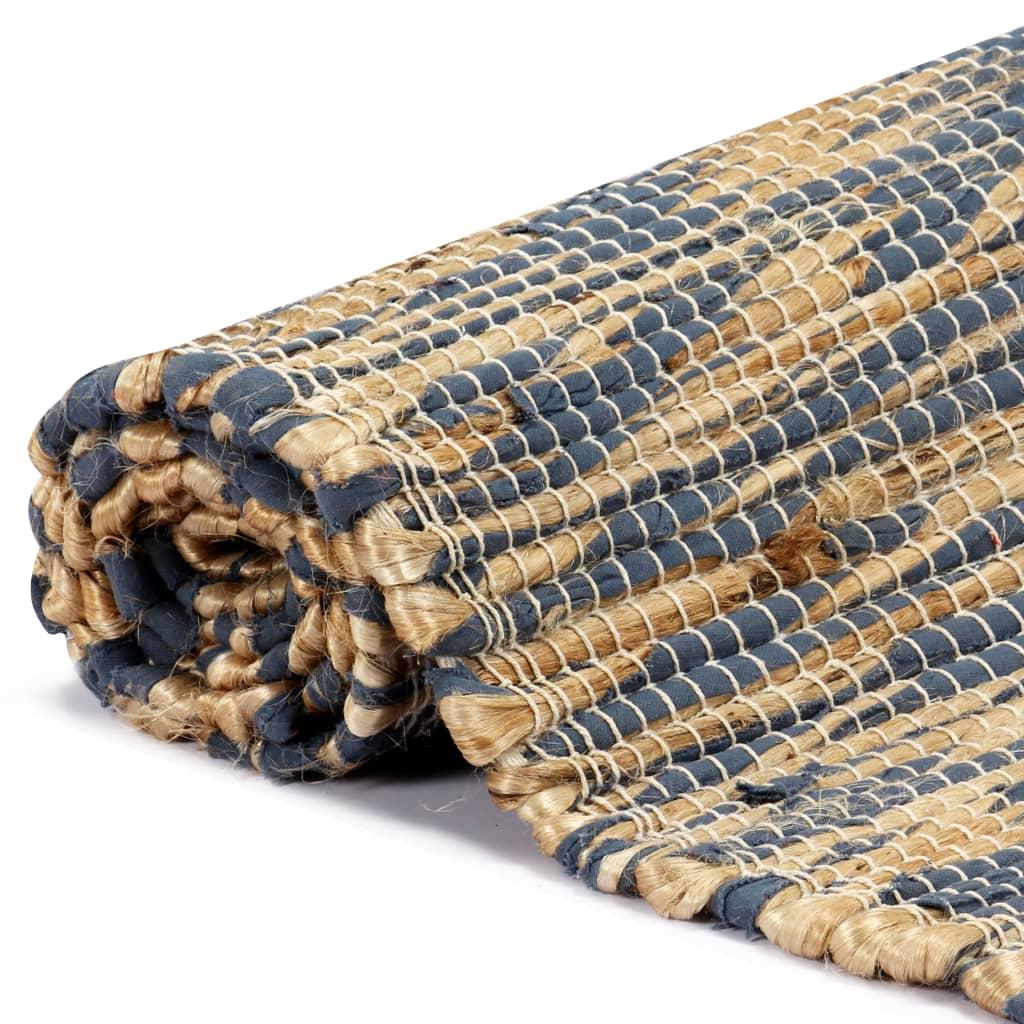 Covor manual, albastru și natural, 160×230 cm, iută