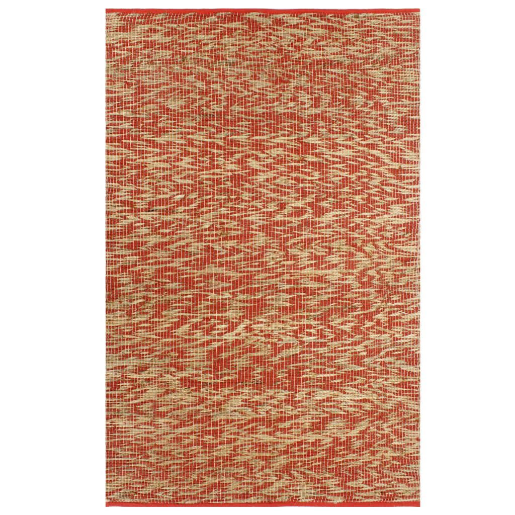 vidaXL Covor manual, roșu și natural, 160×230 cm, iută