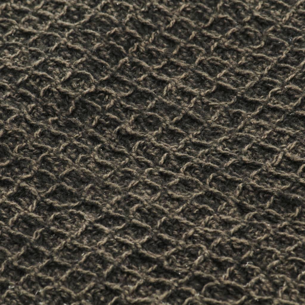 vidaXL Pătură decorativă, antracit/maro, 220 x 250 cm, bumbac