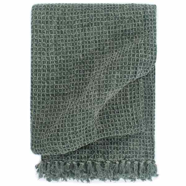 vidaXL Pătură decorativă, verde închis, 160 x 210 cm, bumbac