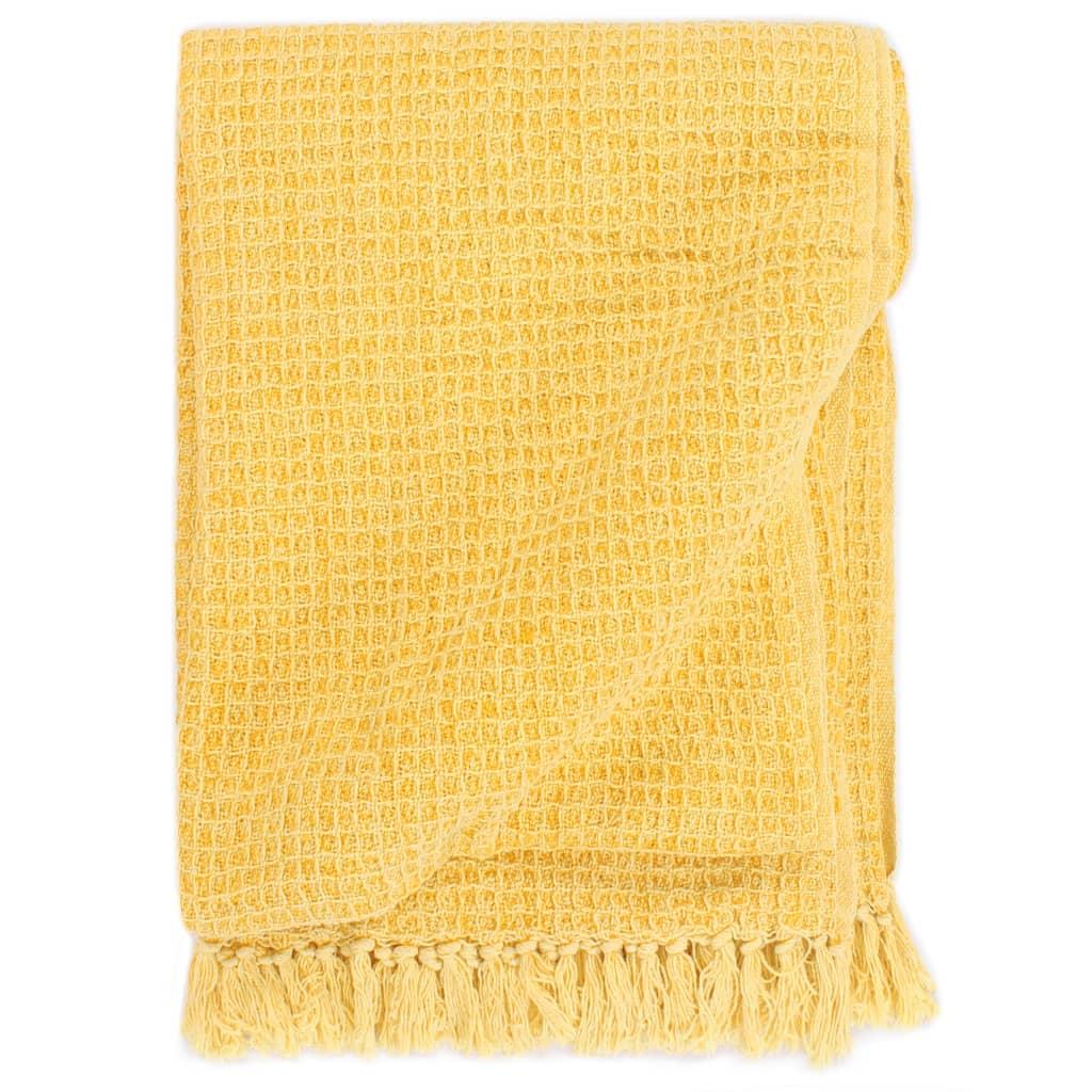 vidaXL Pătură decorativă, galben muștar, 125 x 150 cm, bumbac
