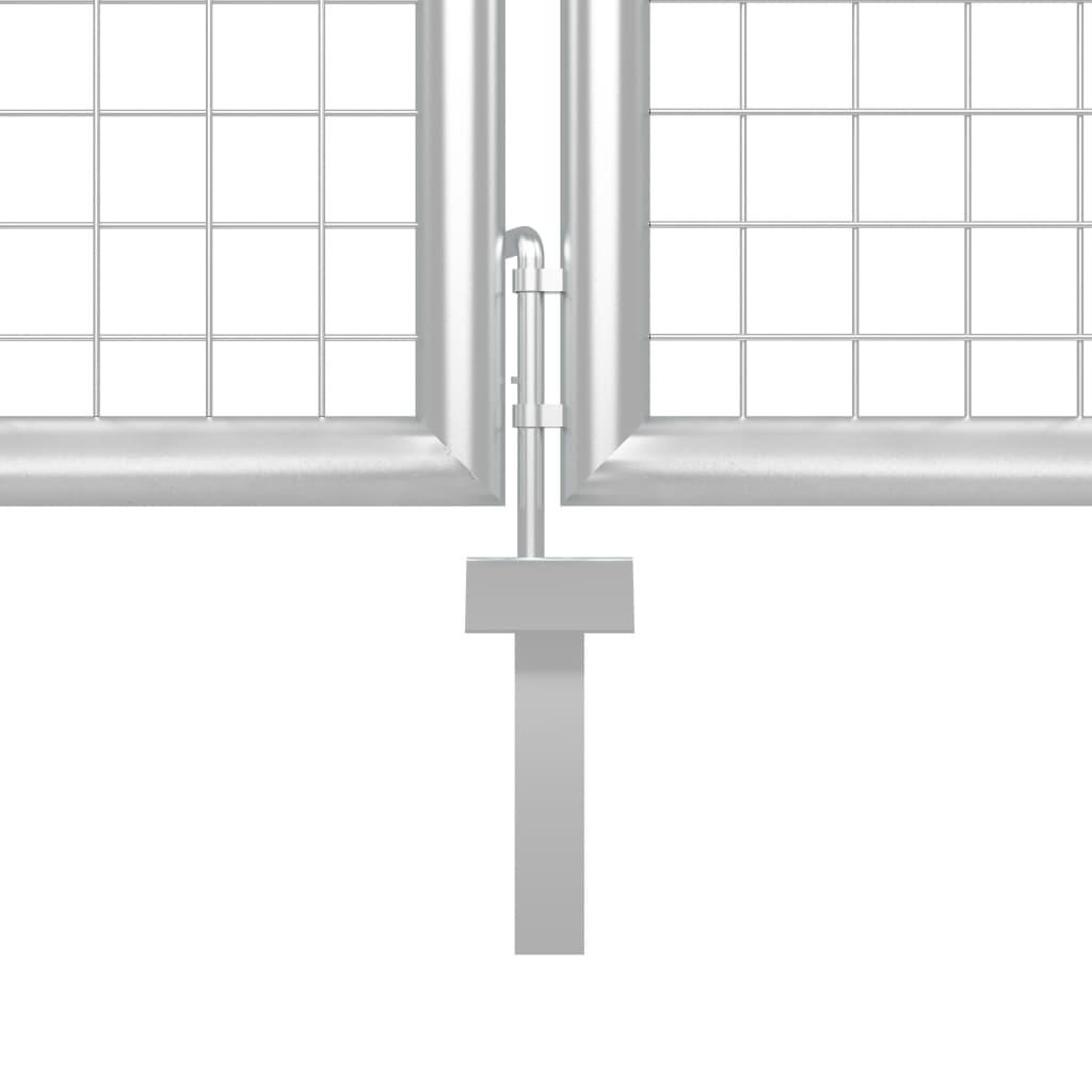 vidaXL Poartă de grădină, argintiu, 500 x 100 cm, oțel