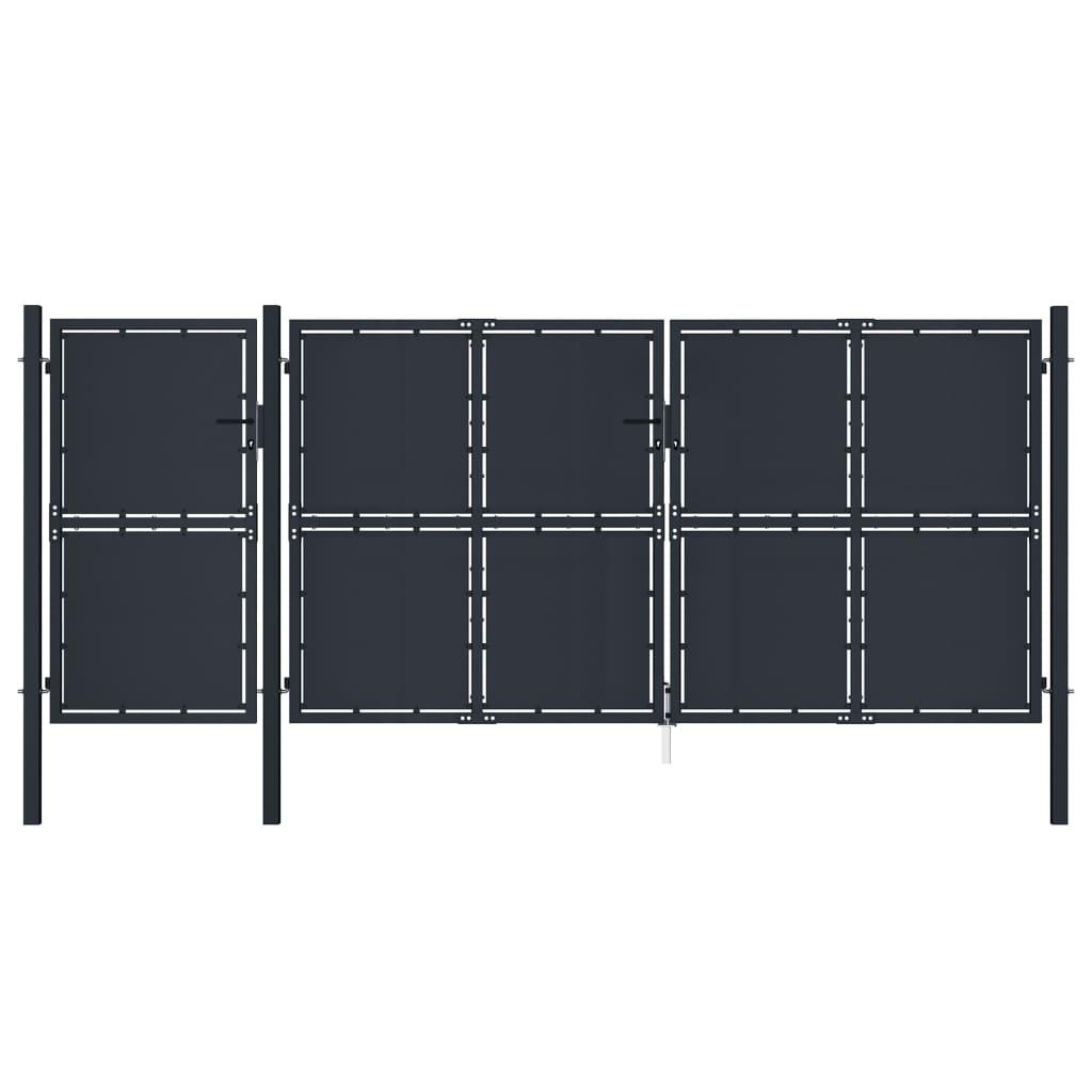 vidaXL Poartă de grădină, antracit, 4 x 2 m, metal