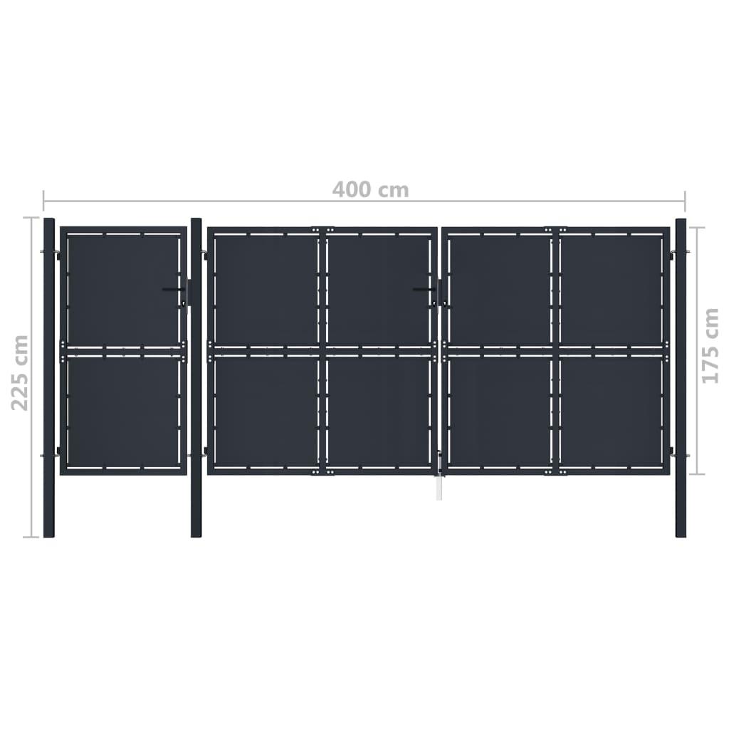 vidaXL Poartă de grădină, antracit, 4 x 2,25 m, metal