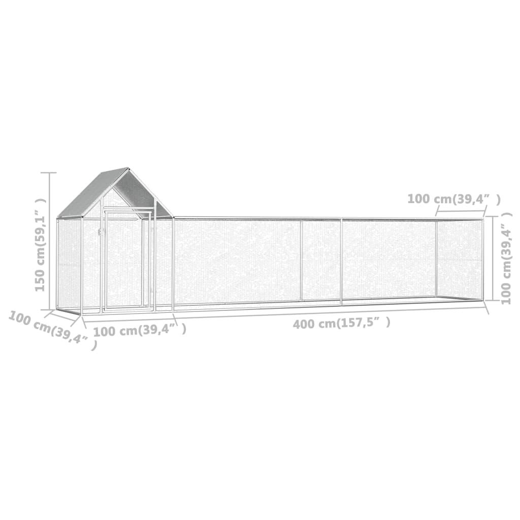 vidaXL Coteț de găini, 5 x 1 x 1,5 m, oțel galvanizat