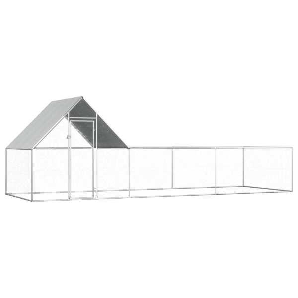 vidaXL Coteț de găini, 6 x 2 x 2 m, oțel galvanizat