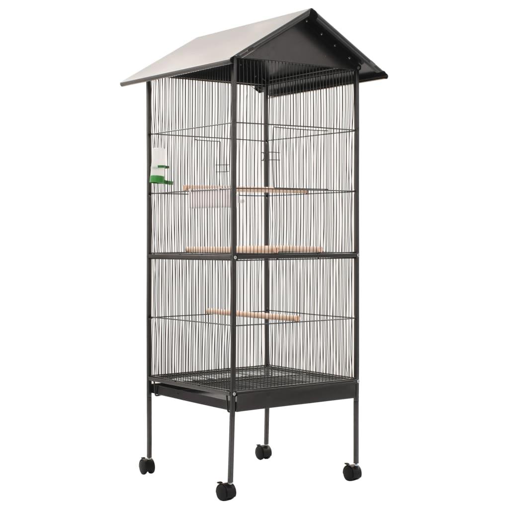 vidaXL Colivie de păsări cu acoperiș, gri, 66 x 66 x 155 cm, oțel