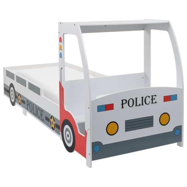 Pat de copii cu birou tip mașină de poliție, 90×200 cm
