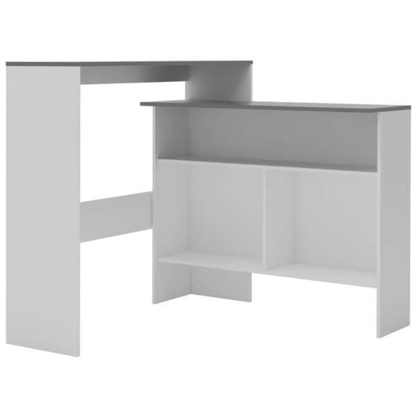 Masă de bar cu 2 blaturi, alb și gri, 130x40x120 cm