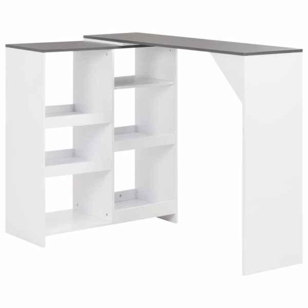 vidaXL Masă de bar cu raft mobil, alb, 138x40x120 cm