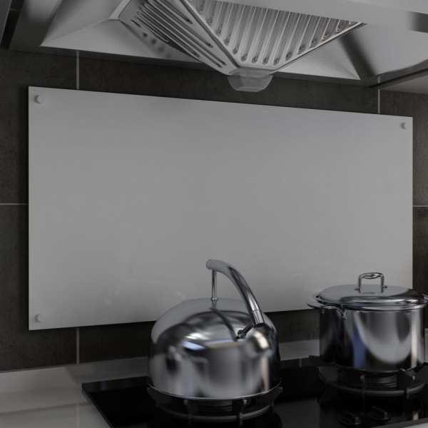 vidaXL Panou antistropi bucătărie, alb, 100×50 cm, sticlă securizată