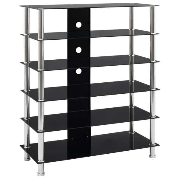 vidaXL Comodă HiFi, negru, 90 x 40 x 113 cm, sticlă securizată