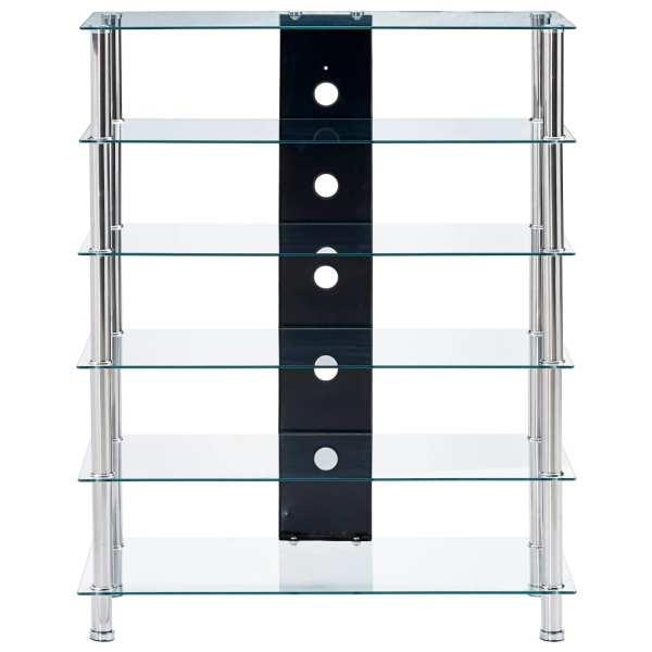 Comodă HiFi, transparent, 90 x 40 x 113 cm, sticlă securizată