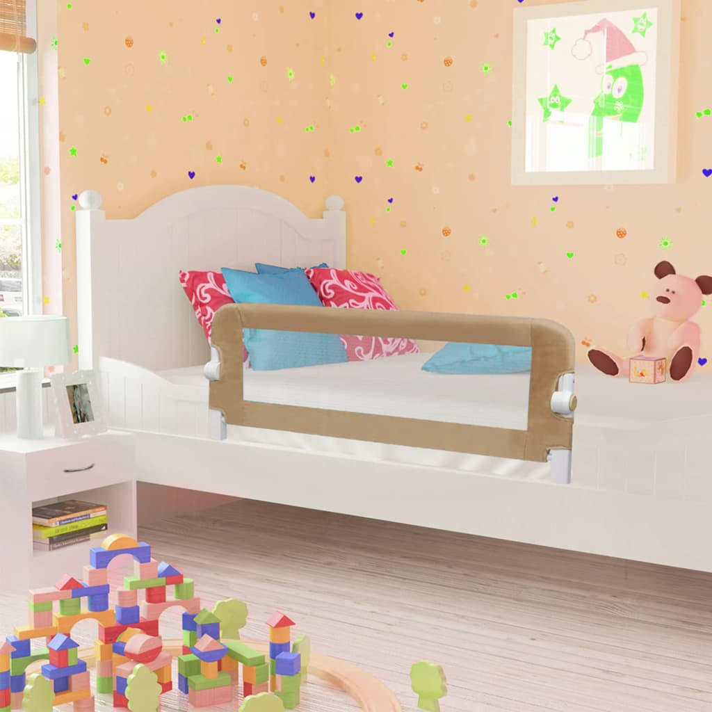 vidaXL Balustradă protecție pat copii, gri taupe, 102×42 cm, poliester
