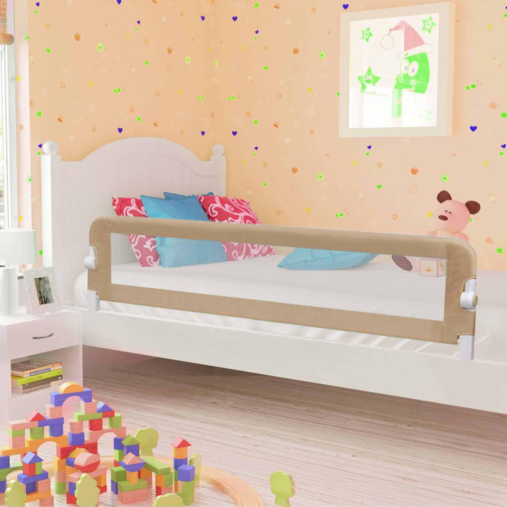 vidaXL Balustradă protecție pat copii, gri taupe, 180×42 cm, poliester