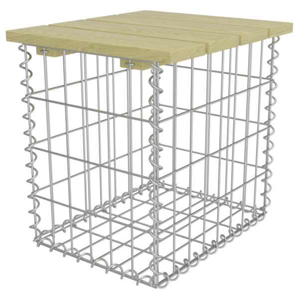 vidaXL Taburet de grădină, 40x40x45 cm, oțel galvanizat, lemn de pin