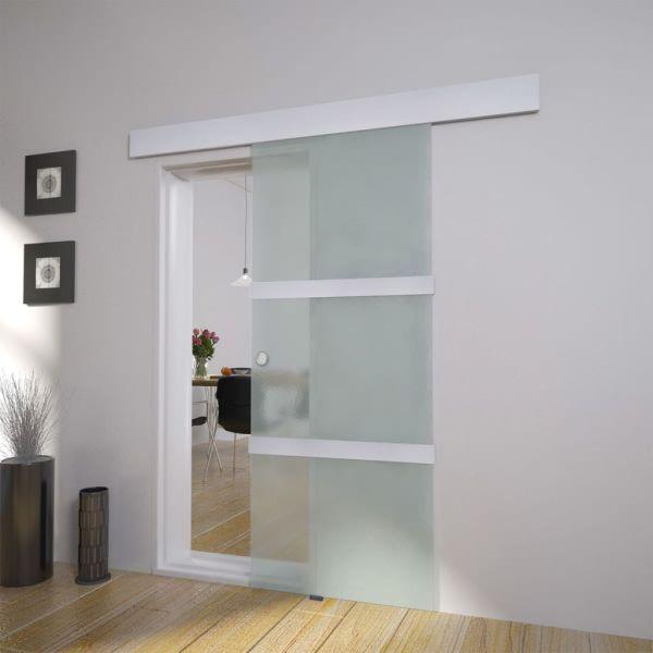 vidaXL Ușă glisantă, argintiu,178 cm, sticlă și aluminiu