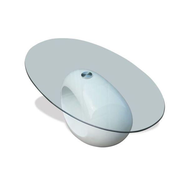 vidaXL Măsuță de cafea cu blat oval din sticlă, alb lucios