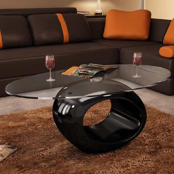 vidaXL Măsuță de cafea cu blat oval din sticlă, negru lucios