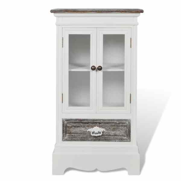 vidaXL Dulap cu 2 uși și 1 sertar, alb, lemn