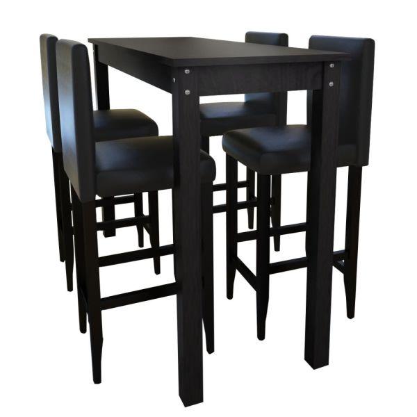 Masă bar cu 4 scaune Negru