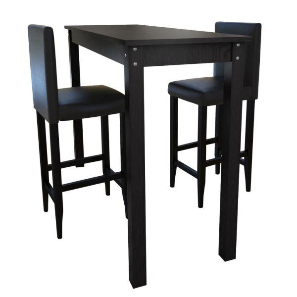 Masă bar cu 2 scaune Negru