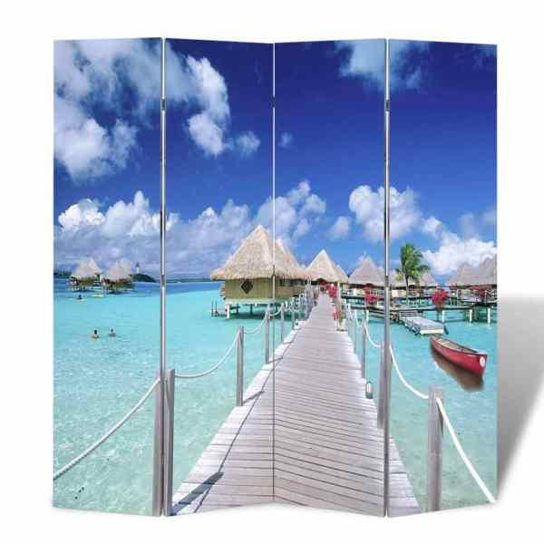vidaXL Paravan de cameră pliabil, 160 x 170 cm, plajă