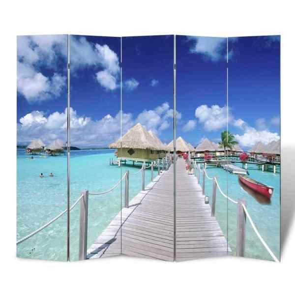 vidaXL Paravan de cameră pliabil, 200 x 170 cm, plajă