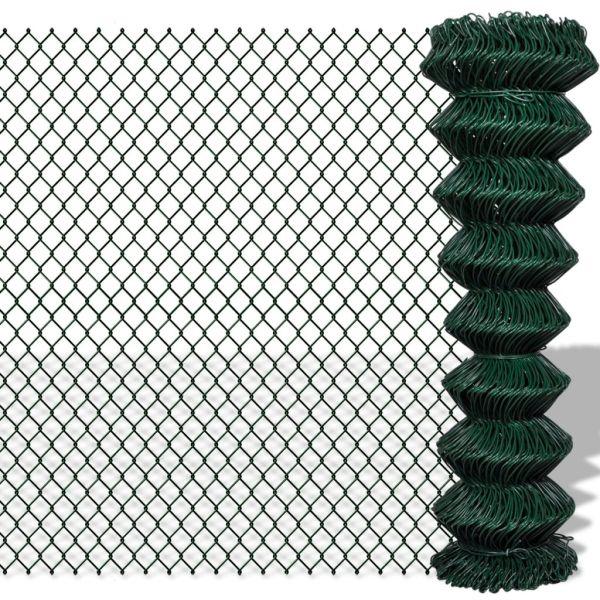 vidaXL Gard de legătură din plasă, verde, 1,5 x 15 m, oțel