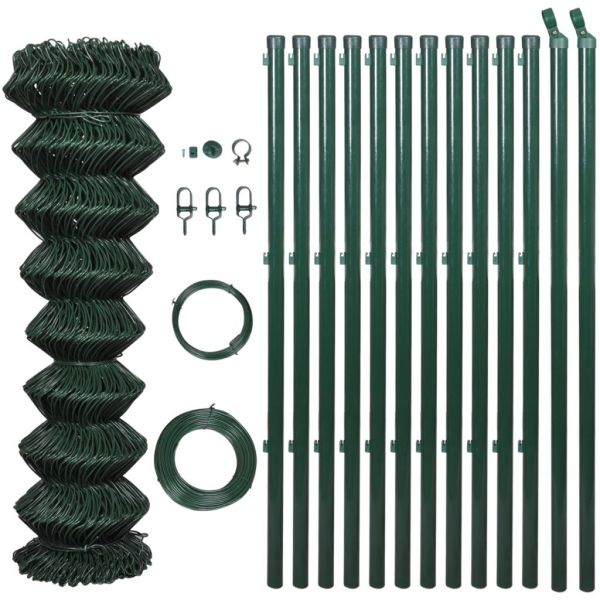 Gard de legătură din plasă cu stâlpi, verde, 1,25 x 15 m, oțel