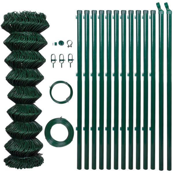 Gard de legătură din plasă cu stâlpi, verde, 1 x 25 m, oțel