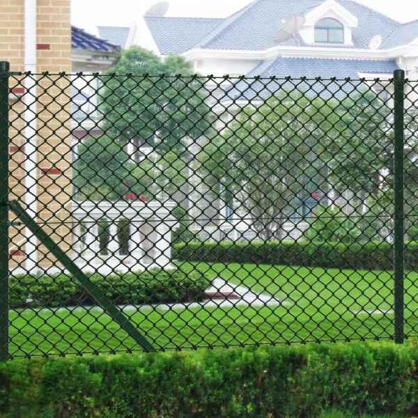 vidaXL Gard din plasă cu stâlpi, verde, 1,5 x 25 m, oțel