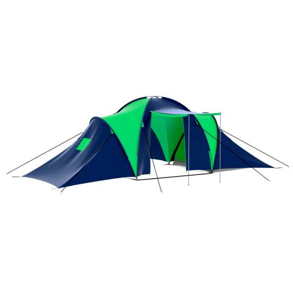 vidaXL Cort camping din material textil, 9 persoane, albastru și verde
