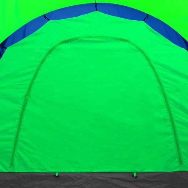 Cort camping din material textil, 9 persoane, albastru și verde