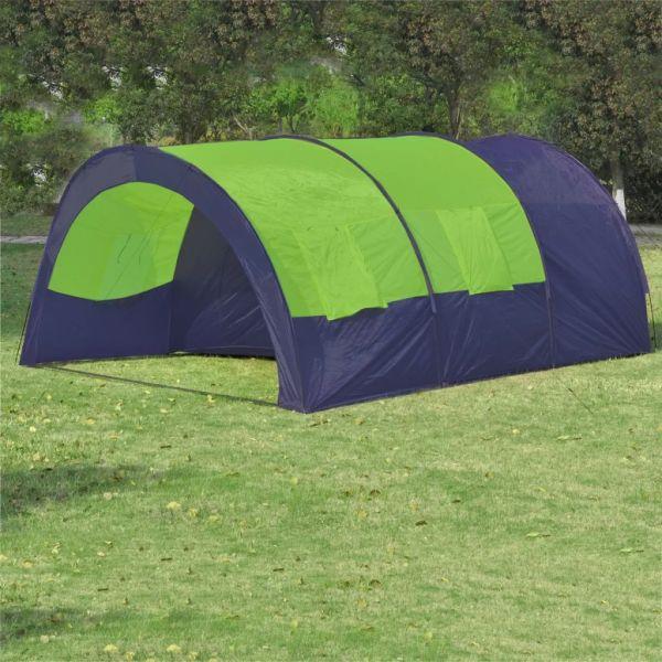 vidaXL Cort camping din material textil, 6 persoane, albastru și verde