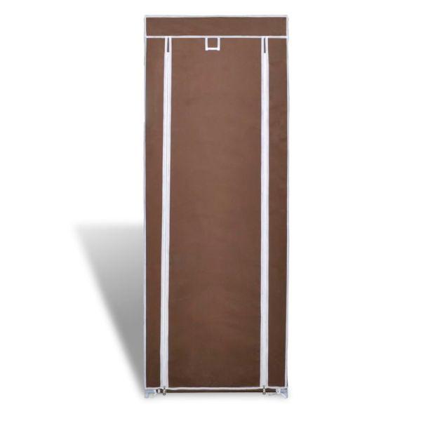 Dulap pantofi cu husă din material textil 57 x 29 x 162 cm, Maro