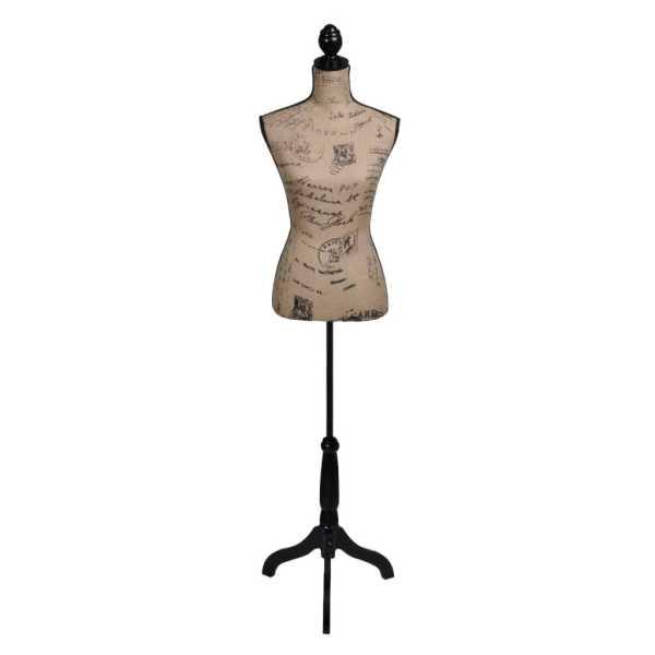 vidaXL Bust pentru dame, maro&negru, manechin feminin croitorie, iută