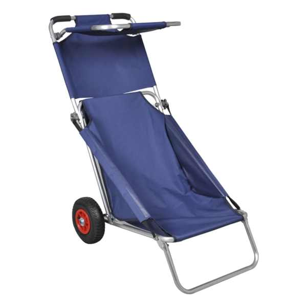 vidaXL Cărucior de plajă cu roți, portabil, pliabil, albastru