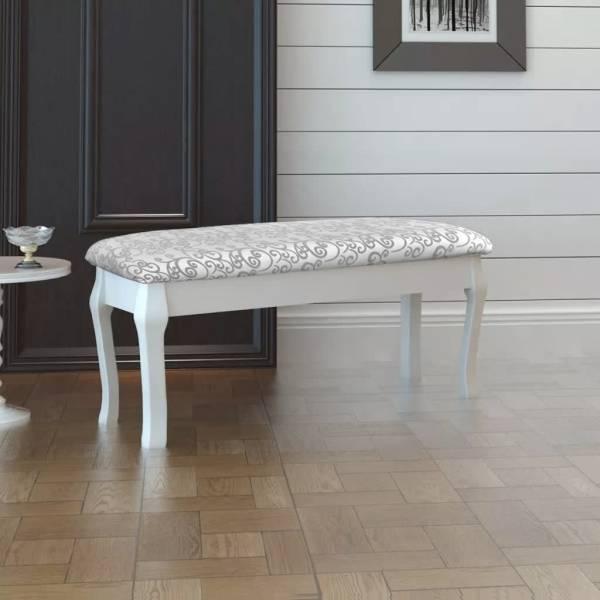 Bancă Hocker căptușita pentru masa de machiaj 2 locuri, alb 110 cm