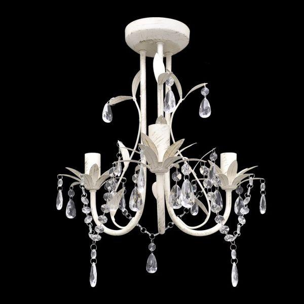 Candelabru elegant cu cristale, Alb