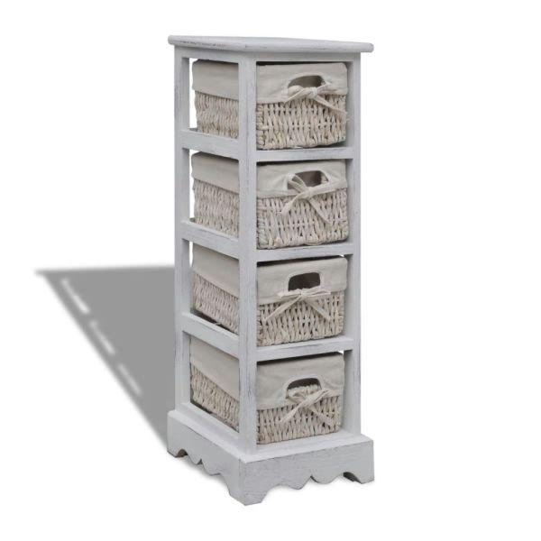 vidaXL Dulap de depozitare din lemn, 4 coșuri împletite, alb