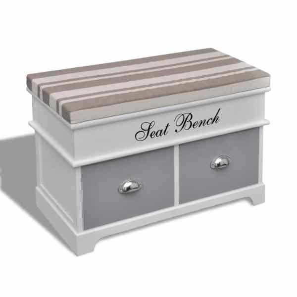 Bancă de depozitare cu pernă gri deasupra 2 sertare