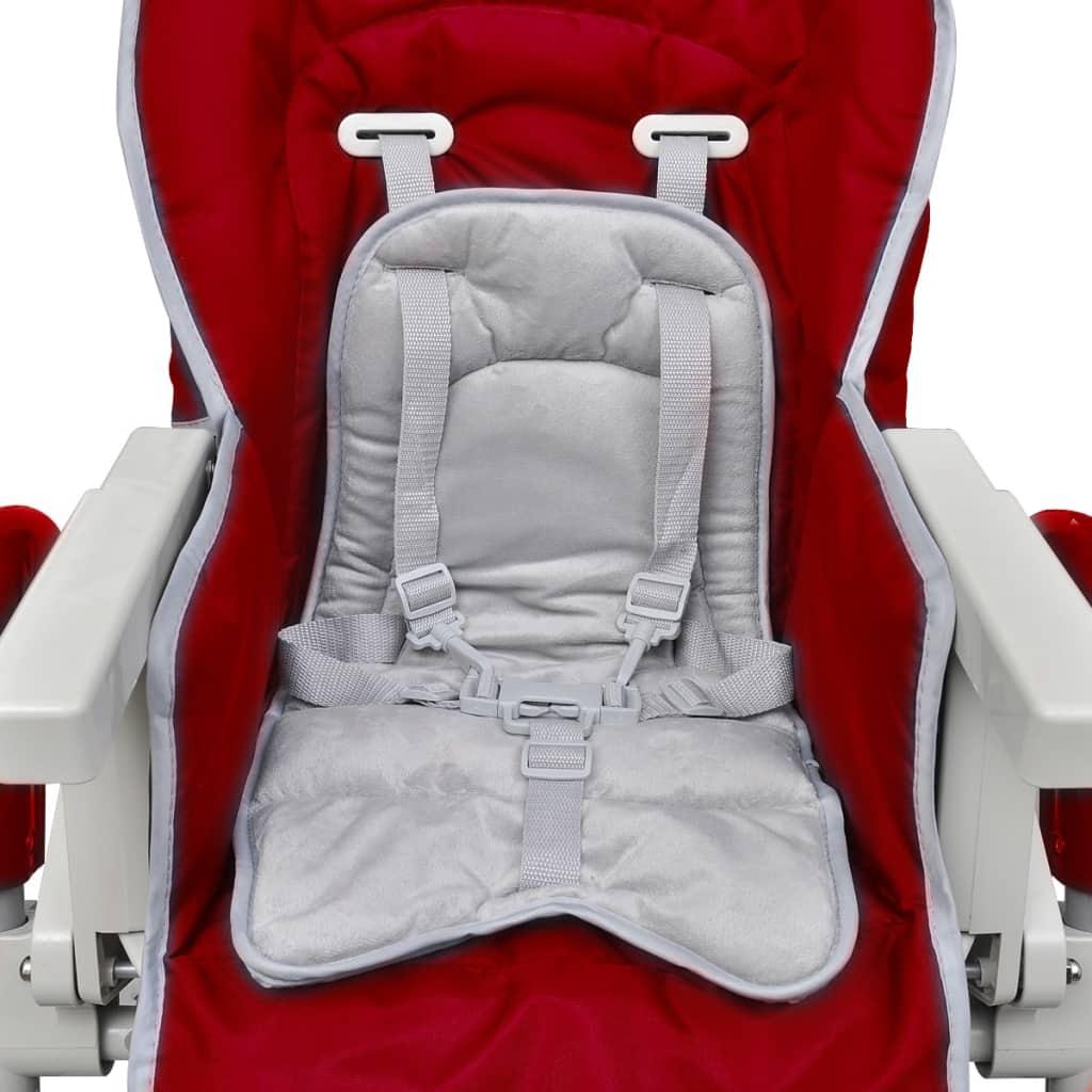 Scaun înalt pentru copii, roșu bordo, înălțime reglabilă