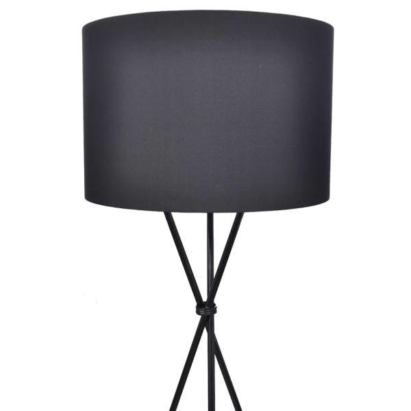 Lampă de podea cu abajur și stativ, negru