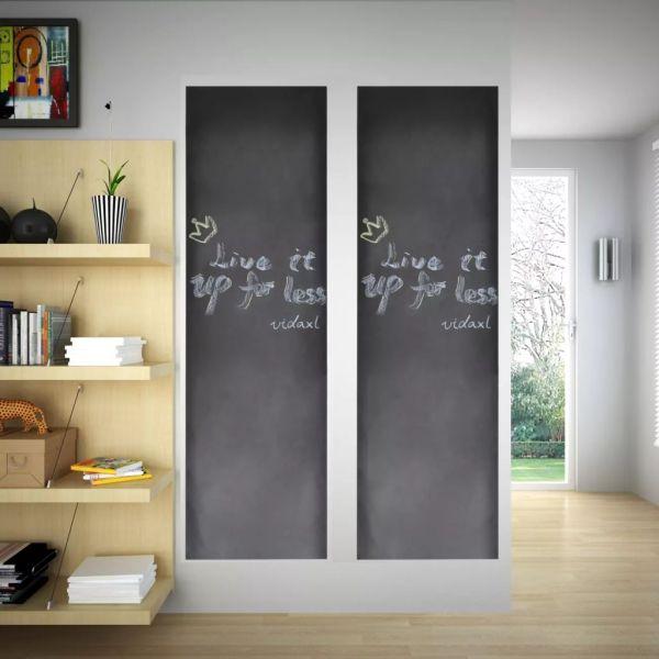Autocolant pentru perete, design tablă, 0,6 x 3 m, 2 buc + cretă