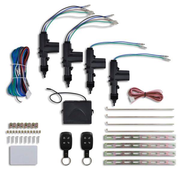 Kit închidere centralizată auto cu 2 telecomenzi, 4 motorașe, 12V