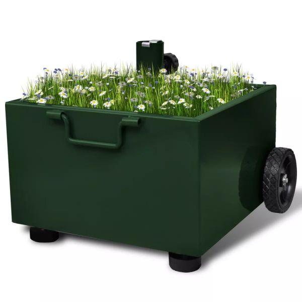vidaXL Suport umbrelă de exterior, ghiveci plante, verde