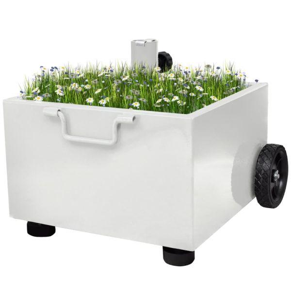 vidaXL Suport umbrelă de exterior, ghiveci plante, alb