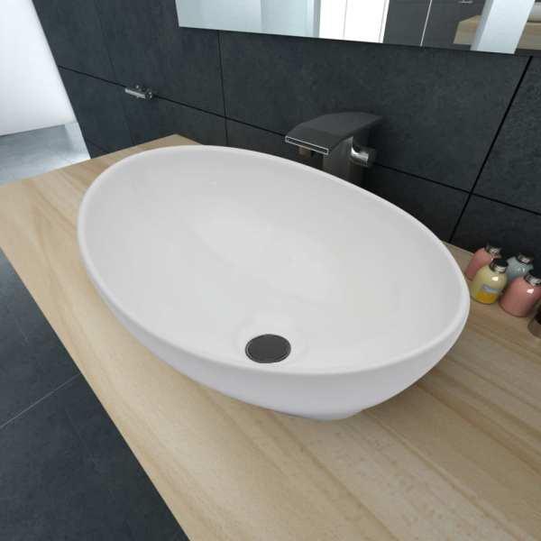 vidaXL Chiuvetă ovală, alb, 40 x 33 cm, ceramică premium