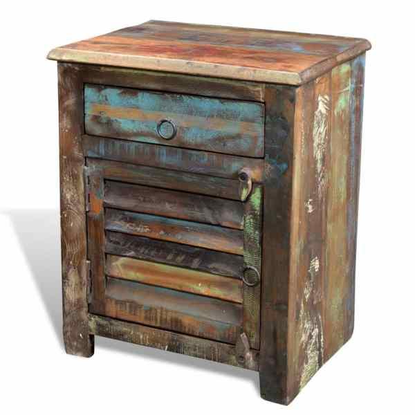 vidaXL Dulap cu 1 sertar și 1 ușă, lemn reciclat